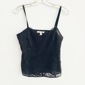 Free People Lace Front Gold Sparkle Camisole Top
